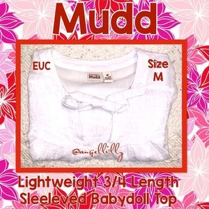 Mudd 3/4 Length Sleeved Sheer Babydoll Top w/Ties